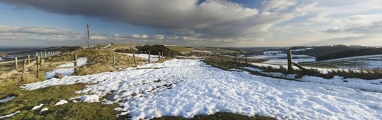 Panorama of Walbury Hill from Coombe Gibbet, Inkpen near Newbury, Berkshire, Uk