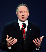 New York, NY - September 1, 2004 --  Michael Reagan, son of former United States President Ronald Reagan and his first wife, actress Jane Wyman, introduces a video tribute to his father at the 2004 Republican Convention in Madison Square Garden in New York on September 1, 2004..Credit: Ron Sachs / CNP.(RESTRICTION: No New York Metro or other Newspapers within a 75 mile radius of New York City)