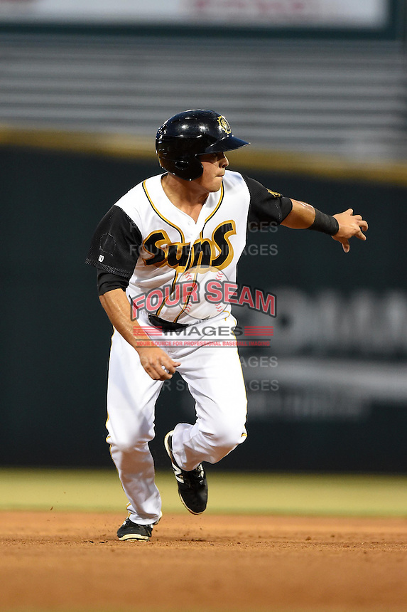 Jacksonville Suns shortstop Terrence Dayleg (29) on the bases during game three of the Southern League Championship Series against the Chattanooga Lookouts on September 12, 2014 at Bragan Field in Jacksonville, Florida.  Jacksonville defeated Chattanooga 6-1 to sweep three games to none.  (Mike Janes/Four Seam Images)