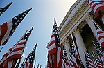 Olympia State Capitol Legislative building with a display of flags near the building Washington State USA