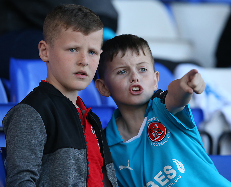 Fleetwood Town fans watch as their team lose 2-0<br /> <br /> Photographer Stephen White/CameraSport<br /> <br /> The EFL Sky Bet League One - Oldham Athletic v Fleetwood Town - Saturday 8th April 2017 - SportsDirect.com Park - Oldham<br /> <br /> World Copyright &copy; 2017 CameraSport. All rights reserved. 43 Linden Ave. Countesthorpe. Leicester. England. LE8 5PG - Tel: +44 (0) 116 277 4147 - admin@camerasport.com - www.camerasport.com