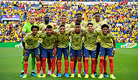 ALICANTE - ESPAÑA, 12-10-2019:Formación de Colmbia ante  Chile durante partido por el primer amistoso de la fecha FIFA /Team of Colombia agaisnt Chile.<br />