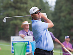 Cameron Beckman hits a tee shot during the Barracuda Championship PGA golf tournament at Montrêux Golf and Country Club in Reno, Nevada on Friday, July 26, 2019.