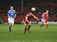Rory McArdle heading the ball back in the Aberdeen v Queen of the South William Hill Scottish Cup 5th Round match played at Pittodrie Stadium, Aberdeen on 4.2.12..