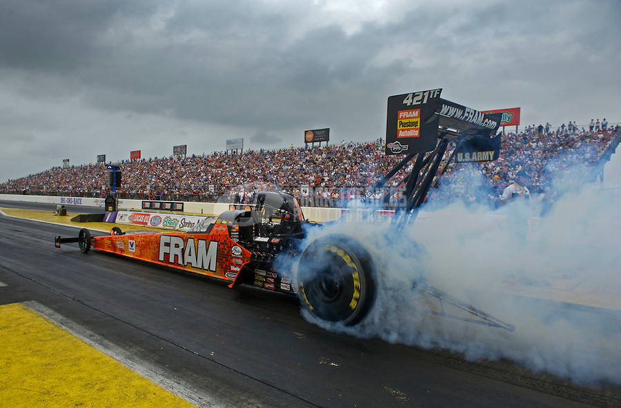 Apr. 30, 2011; Baytown, TX, USA: NHRA top fuel dragster driver Spencer Massey during qualifying for the Spring Nationals at Royal Purple Raceway. Mandatory Credit: Mark J. Rebilas-
