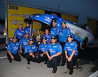 Oct 2, 2016; Mohnton, PA, USA; NHRA funny car driver Tommy Johnson Jr celebrates with crew after winning the Dodge Nationals at Maple Grove Raceway. Mandatory Credit: Mark J. Rebilas-USA TODAY Sports