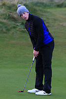 Sean Whelan (Royal Tara) on the 17th green during Round 2 of the Ulster Boys Championship at Portrush Golf Club, Portrush, Co. Antrim on the Valley course on Wednesday 31st Oct 2018.<br /> Picture:  Thos Caffrey / www.golffile.ie<br /> <br /> All photo usage must carry mandatory copyright credit (&copy; Golffile | Thos Caffrey)