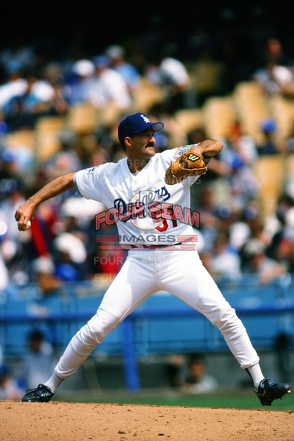 Mike Maddux of the Los Angeles Dodgers during a game at Dodger Stadium circa 1999 in Los Angeles, California. (Larry Goren/Four Seam Images)