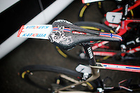 Costumised viking saddle for Alexander Kristoff (NOR/Katusha)<br /> <br /> 106th Milano - San Remo 2015