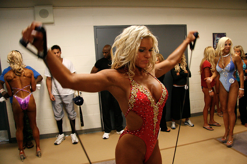 Fitness Models prepare backstage at the 2007 World Bodybuilding and Fitness Championships in Mississauga, Canada..September 15, 2007.Photo By:  Natasha Fillion
