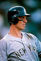 Tino Martinez of the New York Yankees during a game at Anaheim Stadium in Anaheim, California during the 1997 season.(Larry Goren/Four Seam Images)