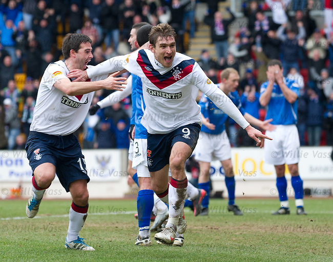 Nikica Jelavic and David Healy celebrate the winner for Rangers