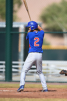 Chicago Cubs shortstop Ho-young Son (2) during an Instructional League intersquad game on October 9, 2014 at Cubs Park Complex in Mesa, Arizona.  (Mike Janes/Four Seam Images)