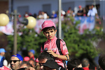 Young fan at the finish line in Tortoli at the end of Stage 2 of the 100th edition of the Giro d'Italia 2017, running 221km from Olbia to Tortoli, Sardinia, Italy. 6th May 2017.<br /> Picture: Eoin Clarke | Cyclefile<br /> <br /> <br /> All photos usage must carry mandatory copyright credit (&copy; Cyclefile | Eoin Clarke)