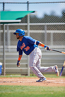 GCL Mets catcher Jose Mena (38) hits a single during a game against the GCL Cardinals on August 6, 2018 at Roger Dean Chevrolet Stadium in Jupiter, Florida.  GCL Cardinals defeated GCL Mets 6-3.  (Mike Janes/Four Seam Images)