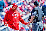 5 April 2018: Washington Nationals Manager Dave Martinez shows his displeasure with a call by home plate umpire  Doug Eddings during a game against the New York Mets at Nationals Park in Washington, DC. The Mets defeated the Nationals 8-2 in the first game of their 3-game series. Mandatory Credit: Ed Wolfstein Photo *** RAW (NEF) Image File Available ***
