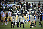 November 12, 2016 - Colorado Springs, Colorado, U.S. -  Air Force defenders celebrate a late fourth quarter fumble recovery to seal their victory during the NCAA Football game between the Colorado State University Rams and the Air Force Academy Falcons, Falcon Stadium, U.S. Air Force Academy, Colorado Springs, Colorado.  Air Force defeats Colorado State 49-46.