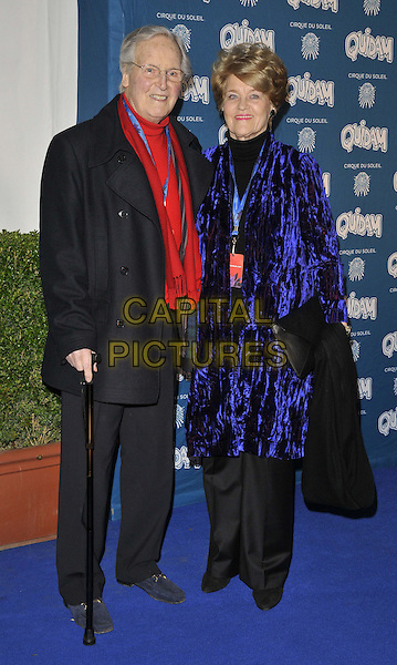 LONDON, ENGLAND - JANUARY 07: Nicholas Parsons &amp; Ann Reynolds attend the &quot;Cirque du Soleil: Quidam&quot; VIP press night, Royal Albert Hall, Kensington Gore, on Tuesday January 07, 2014 in London, England, UK.<br /> CAP/CAN<br /> &copy;Can Nguyen/Capital Pictures