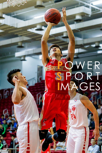 Yip Yiu Pong #35 of Nam Ching Basketball Team tries to score during the Hong Kong Basketball League game between SCAA and Nam Ching at Southorn Stadium on May 4, 2018 in Hong Kong. Photo by Yu Chun Christopher Wong / Power Sport Images