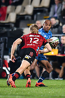 11th July 2020, Christchurch, New Zealand;  Mark Telea of the Bluesis tackled by Jack Goodhue of the Crusaders during the Super Rugby Aotearoa, Crusaders versus Blues, at Orangetheory Stadium, Christchurch