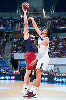 Real Madrid's player Gustavo Ayon and FC Barcelona Lassa's player Ante Tomic during the match of the semifinals of Supercopa of La Liga Endesa Madrid. September 23, Spain. 2016. (ALTERPHOTOS/BorjaB.Hojas)