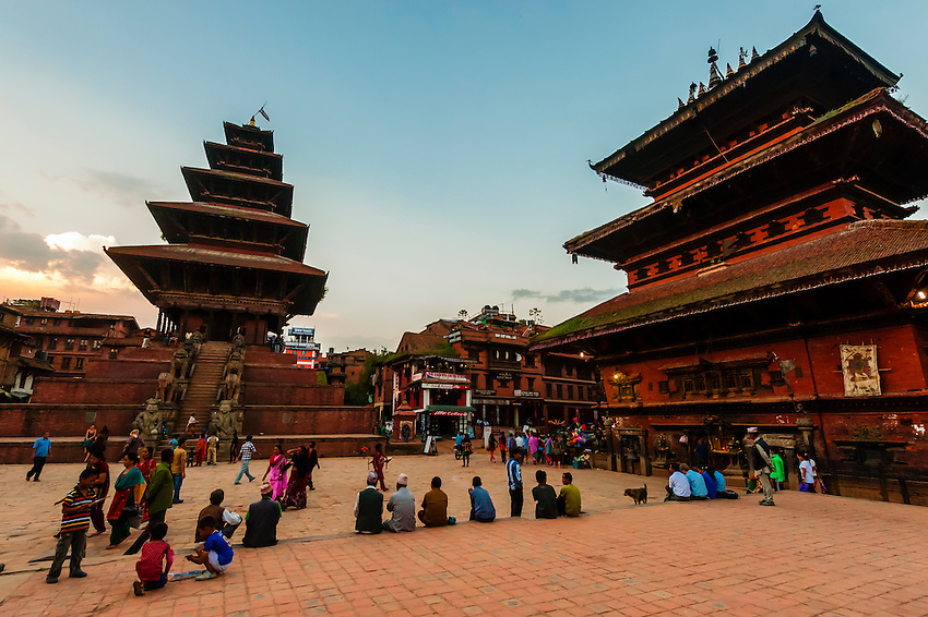 Taumadhi Square (Nyatapola Pagoda on left and Bhairav Temple on right), Bhaktapur, Kathmandu Valley, Nepal.