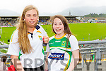 Sinead Warran and Rachel Fitzgerald (Gneeveguilla) supporting Kerry at the Munster Final on Saturday evening last in Fitzgerald Stadium, Killarney.