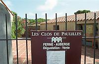 Sign with menu for the restaurant. Domaine Les Clos de Paulilles. banyuls  Roussillon. The gate. France. Europe.