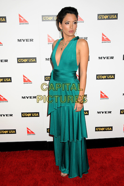 STEPHANIE JACOBSEN .Attending the 2010 G'Day USA Australia Week Black Tie Gala held at the Hollywood & Highland Grand Ballroom, Hollywood, California, USA, .16th January 2010..arrivals full length green dress long maxi tiered low cut sleeveless .CAP/ADM/BP.©Byron Purvis/Admedia/Capital Pictures