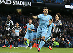Sergio Aguero of Manchester City celebrates scoring his goal - Barclays Premier League - Manchester City vs Newcastle Utd - Etihad Stadium - Manchester - England - 21st February 2015 - Picture Simon Bellis/Sportimage