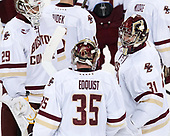 Ian Milosz (BC - 29), Ryan Edquist (BC - 35), Joe Woll (BC - 31) - The Boston College Eagles defeated the visiting Colorado College Tigers 4-1 on Friday, October 21, 2016, at Kelley Rink in Conte Forum in Chestnut Hill, Massachusetts.The Boston College Eagles defeated the visiting Colorado College Tiger 4-1 on Friday, October 21, 2016, at Kelley Rink in Conte Forum in Chestnut Hill, Massachusett.