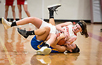 WINSTED,  CT-021119JS24- Northwestern's Emma Propfe (13) and Housatonic's Sierra O'Niel (11) battle on the floor for a loose ball during their Berkshire League game Monday at Northwestern. <br /> Jim Shannon Republican American