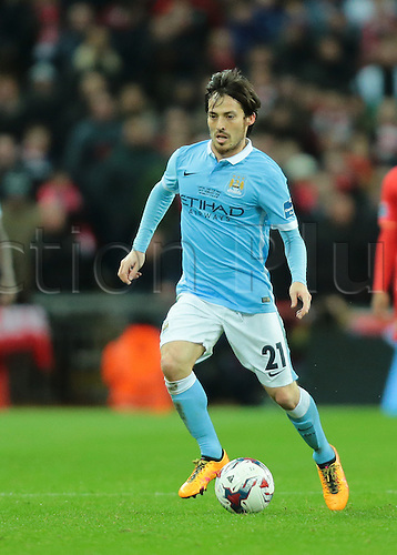 28.02.2016. Wembley Stadium, London, England. Capital One Cup Final. Manchester City versus Liverpool. Manchester City Midfielder David Silva on the ball