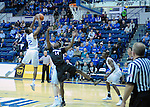January 24, 2017:  Air Force guard, CJ Siples #2, reaches for a shot over, Aztec, Zylan Cheatham #14, during the NCAA basketball game between the San Diego State Aztecs and the Air Force Academy Falcons, Clune Arena, U.S. Air Force Academy, Colorado Springs, Colorado.  Air Force defeats San Diego State 60-57.