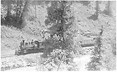 RGS #40 with short freight along the Dolores River between Rico and Stoner.<br /> RGS  between Rico and Stoner, CO  Taken by Perry, Otto C. - 6/16/1942