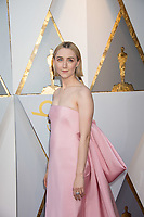 Saoirse Ronan, Oscar&reg; nominee for best performance by an actress in a leading role, for work on &ldquo;Lady Bird&rdquo;, arrives on the red carpet of The 90th Oscars&reg; at the Dolby&reg; Theatre in Hollywood, CA on Sunday, March 4, 2018.<br /> *Editorial Use Only*<br /> CAP/PLF/AMPAS<br /> Supplied by Capital Pictures