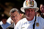 SAN BRUNO, CA - SEPTEMBER 10: Lt. Governor Abel Maldonado, left, and San Bruno Fire Chief Dennis Haag, right, takes questions from reporters the day after an explosion September 10, 2010 in San Bruno, California. A massive explosion rocked a neighborhood near San Francisco International Airport, destroying 37 homes, killing at least 4 people, and injuring at least 50.