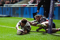 Anthony Watson of Bath Rugby crosses the try-line but the score is later ruled out. European Rugby Challenge Cup match, between Bristol Rugby and Bath Rugby on January 13, 2017 at Ashton Gate Stadium in Bristol, England. Photo by: Patrick Khachfe / Onside Images