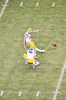 LSU place kicker Trent Domingue (14) kids a field goal during an NCAA football game, Thursday, November 27, 2014 in College Station, Tex. LSU defeated Texas A&M 23-17. (Mo Khursheed/TFV Media via AP Images)