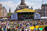 """Official """"Brazil Day"""".<br /> <br /> London, 12/06/2014. Today, on the day of the opening ceremony of the 20th World Cup of Football in Sao Paolo (Brasil), a group of Brasilian people held a demonstration in Trafalgar Square to raise awareness of the problems that are still affecting their country (see photo captions) and in support and solidarity with the protests currently happening in Brasil. Meanwhile, the official """"Brazil Day"""" organised by the Mayor of London was held without disruption in the main square."""
