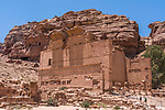 Qasr el-Bint, the Temple of Dushara, in the ruins of the Nabataean city of Petra in the Hashemite Kingdom of Jordan.  Petra Archeological Park is a Jordanian National Park and a UNESCO World Heritage Site.