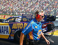 Sep 5, 2016; Clermont, IN, USA; Rahn Tobler , crew chief for NHRA funny car driver Ron Capps during the US Nationals at Lucas Oil Raceway. Mandatory Credit: Mark J. Rebilas-USA TODAY Sports