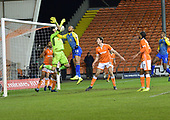 18/12/18 The Emirates FA Cup, 2nd Round Replay Blackpool v Solihull Moor<br /> <br /> Mark Howard fall to hold onto the ball under pressure from Kwame Thomas