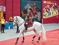 LOS ANGELES, CA - September 22, 2012:  USC mascot Traveler during the USC Trojans vs the Cal Bears at the Los Angeles Memorial Coliseum in Los Angeles, CA. Final score USC 27, Cal 9..