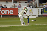 London, GREAT BRITAIN, Nick COMPTON, has his stumps removed during the first session  the Liverpool Victoria Div 2 County championship match between  Middlesex vs Northamptonshire, at Lords Cricket ground, England on Wed 25.04.2007  [Photo, Peter Spurrier/Intersport-images].....