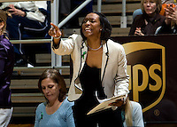 California associate head coach Charmin Smith talks with her players from the bench during the game against Kansas at Haas Pavilion in Berkeley, California on December 21st, 2012.  California defeated Kansas, 88-79.