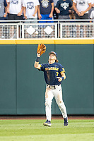 Michigan Wolverines outfielder Jesse Franklin (7) makes a catch during Game 6 of the NCAA College World Series against the Florida State Seminoles on June 17, 2019 at TD Ameritrade Park in Omaha, Nebraska. Michigan defeated Florida State 2-0. (Andrew Woolley/Four Seam Images)