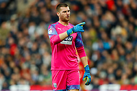 29th December 2019; The Hawthorns, West Bromwich, West Midlands, England; English Championship Football, West Bromwich Albion versus Middlesbrough; Sam Johnstone of West Bromwich Albion responds angrily to abuse from the crowd - Strictly Editorial Use Only. No use with unauthorized audio, video, data, fixture lists, club/league logos or 'live' services. Online in-match use limited to 120 images, no video emulation. No use in betting, games or single club/league/player publications