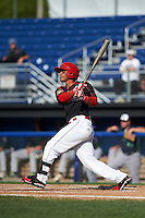 Batavia Muckdogs designated hitter Angel Reyes (30) at bat during the first game of a doubleheader against the Vermont Lake Monsters August 11, 2015 at Dwyer Stadium in Batavia, New York.  Batavia defeated Vermont 6-0.  (Mike Janes/Four Seam Images)