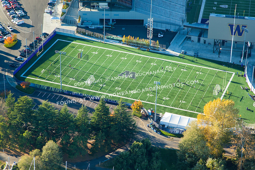 Aerial photo of the University of Washington's practice football field